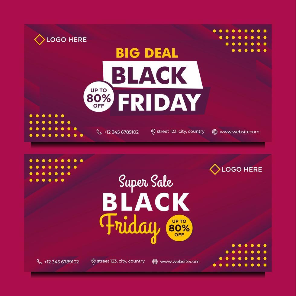 Plantilla de banner de venta de viernes negro en estilo degradado púrpura vector