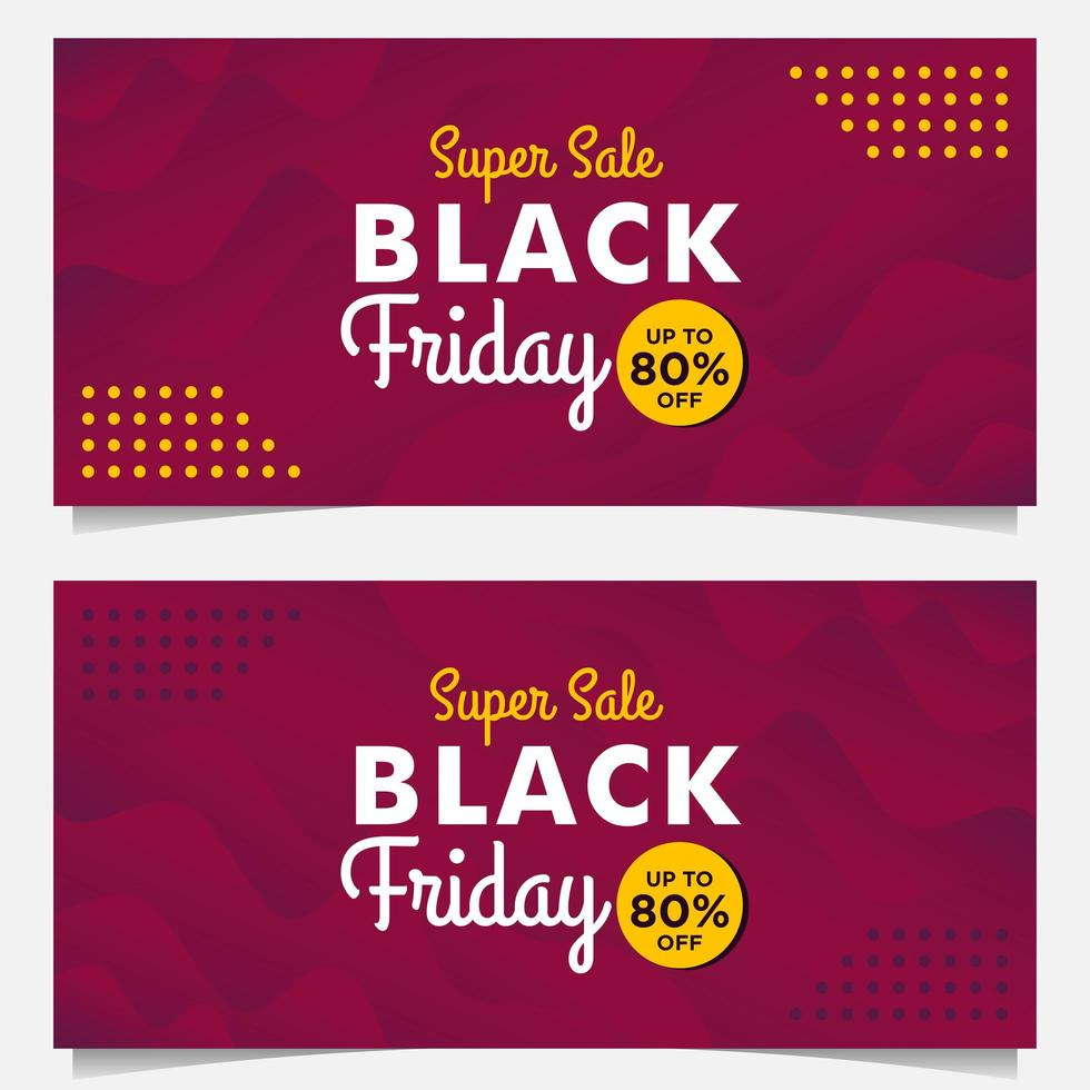 Black Friday sale banner templates with purple gradient style vector