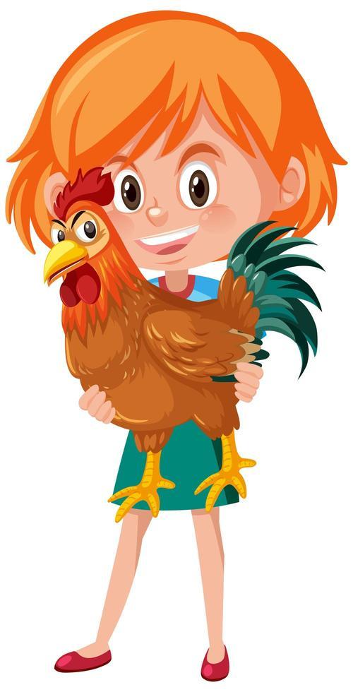 niña sosteniendo lindo gallo o personaje de dibujos animados de pollo vector