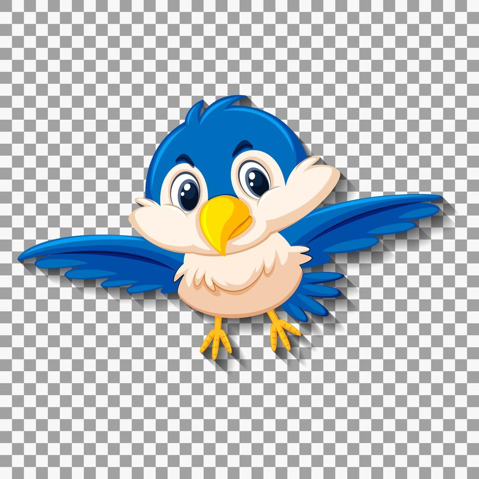 personaje de dibujos animados lindo pájaro azul vector