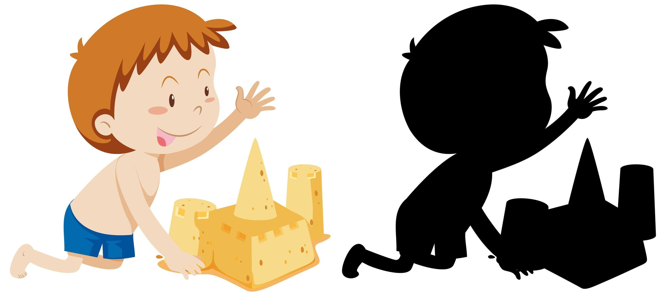 niño construyendo castillo de arena con silueta vector