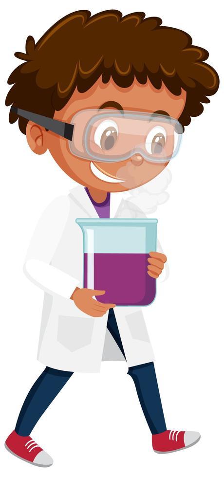 niño en traje de científico sosteniendo matraz vector