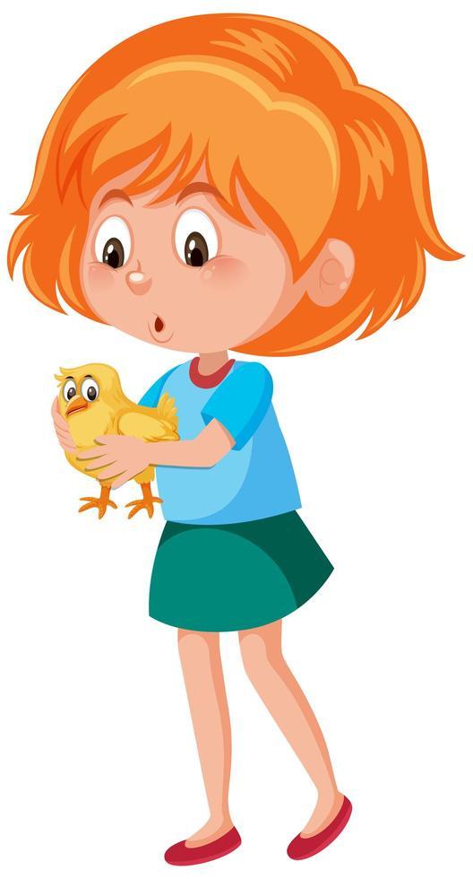 niña sosteniendo lindo pájaro vector