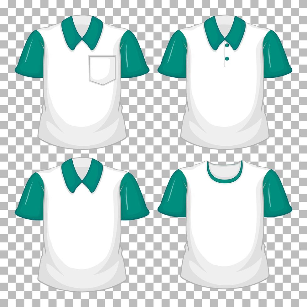 Set of different shirts with green sleeves vector