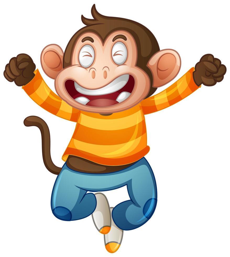 mono lindo con personaje de dibujos animados de camiseta vector