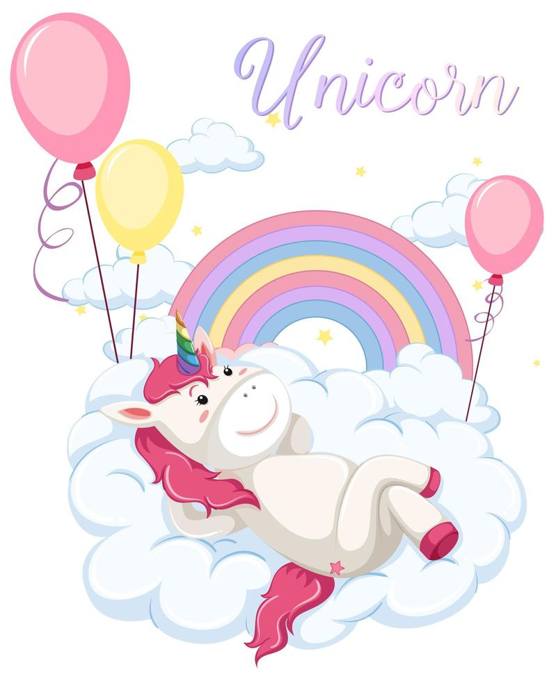 Unicorn lying on clouds with pastel rainbow vector