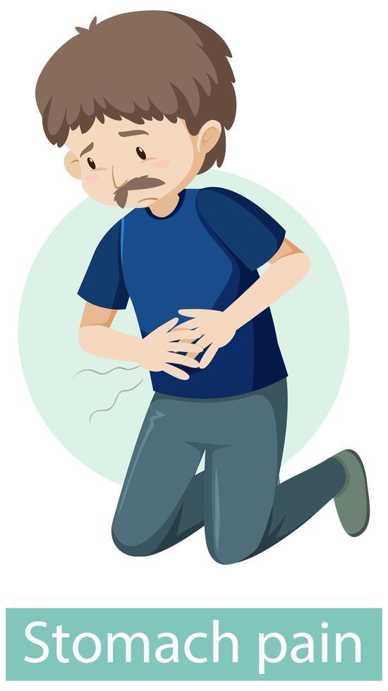 personaje de dibujos animados con síntomas de dolor de estómago vector