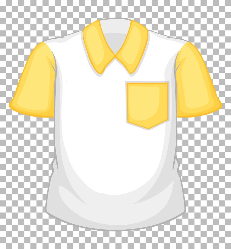camisa blanca en blanco con mangas cortas amarillas y bolsillo vector