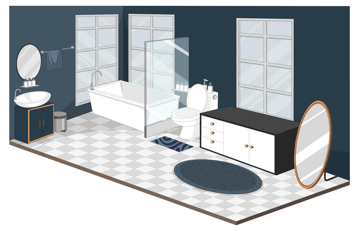 Interior de baño con muebles de estilo moderno. vector