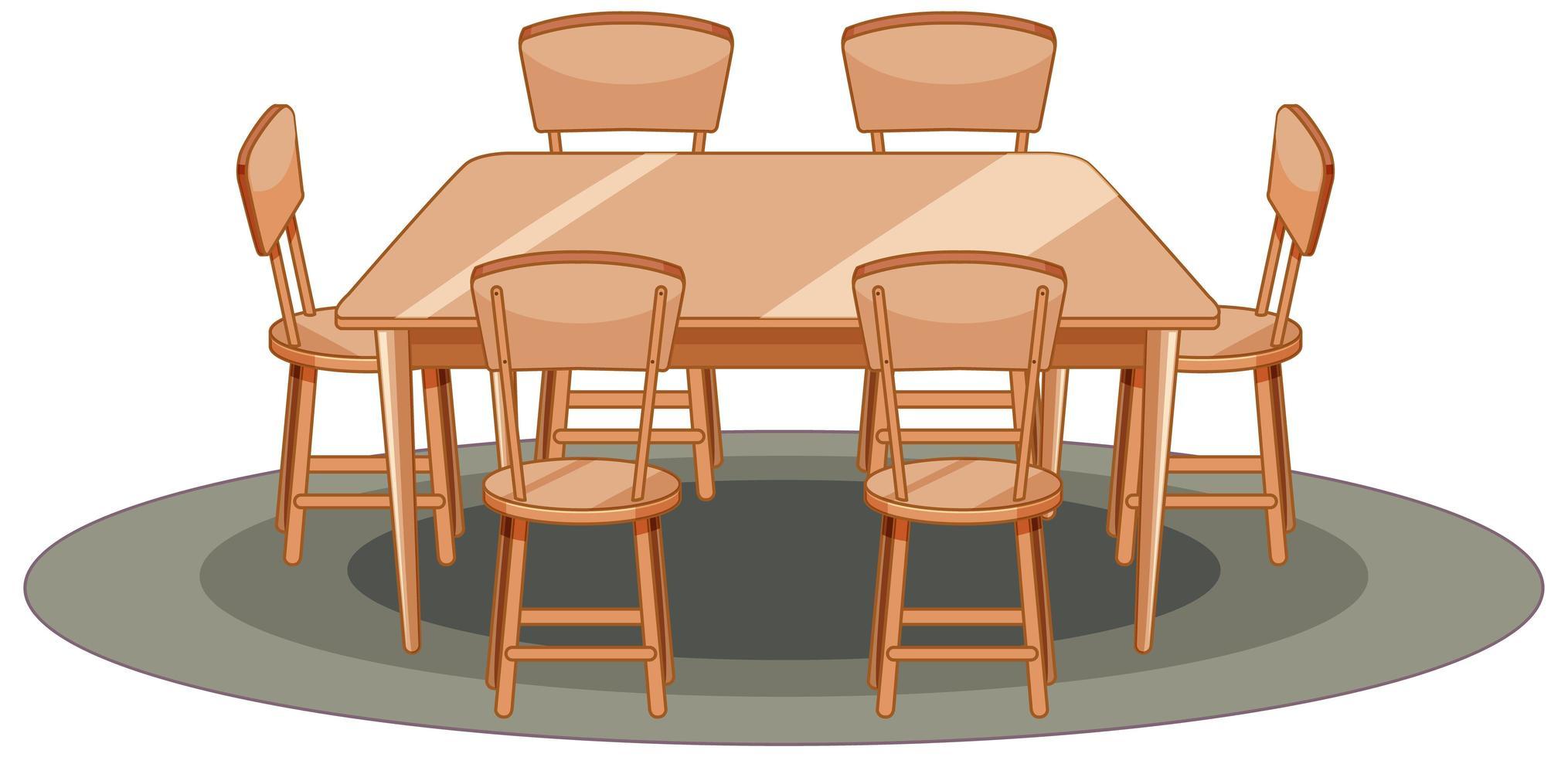 mesa de madera y silla estilo de dibujos animados vector