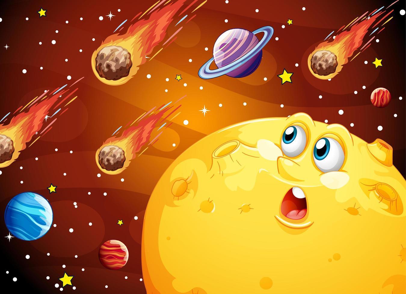 luna con cara feliz en el espacio galaxia vector