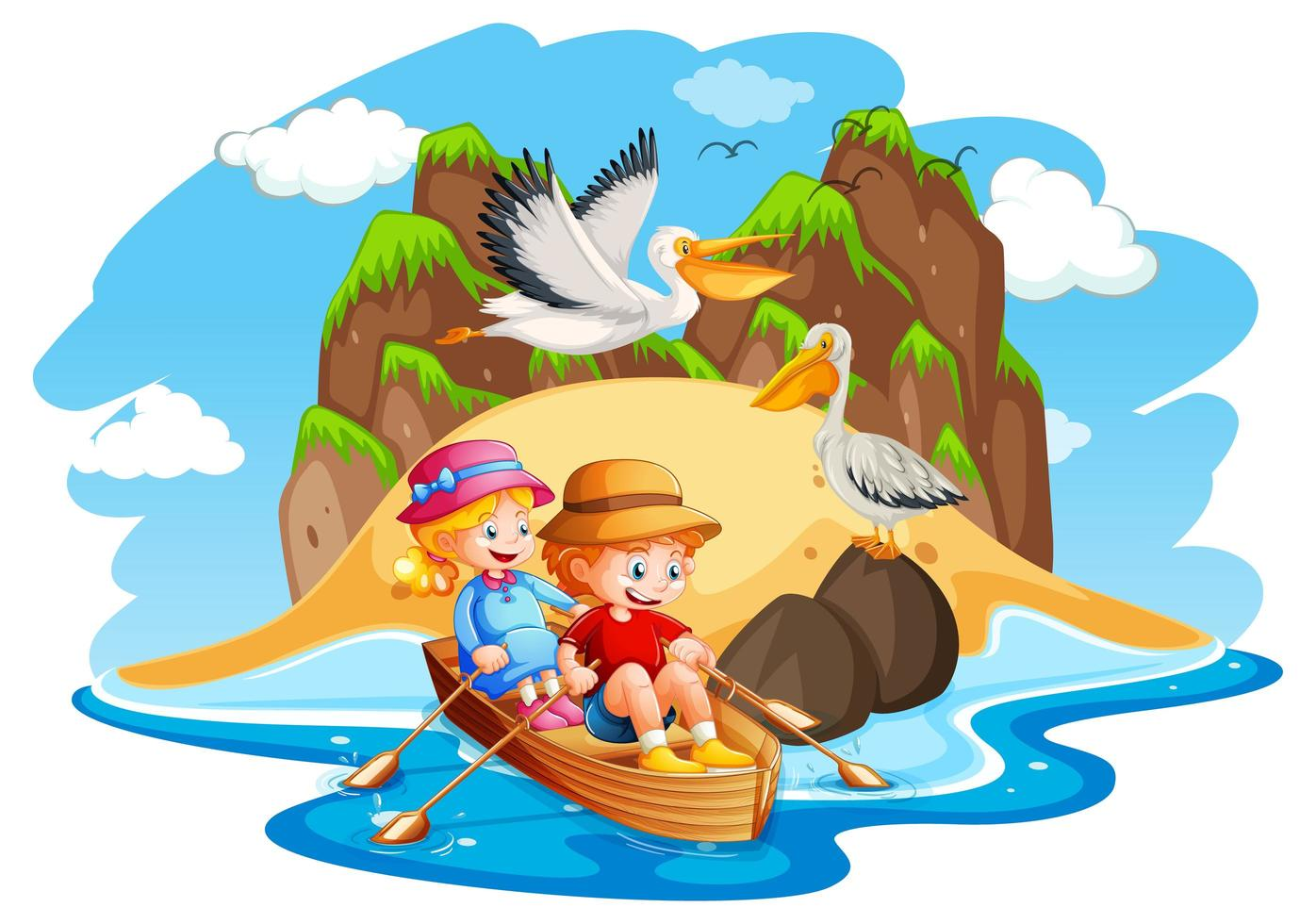 Children row boat beach scene vector