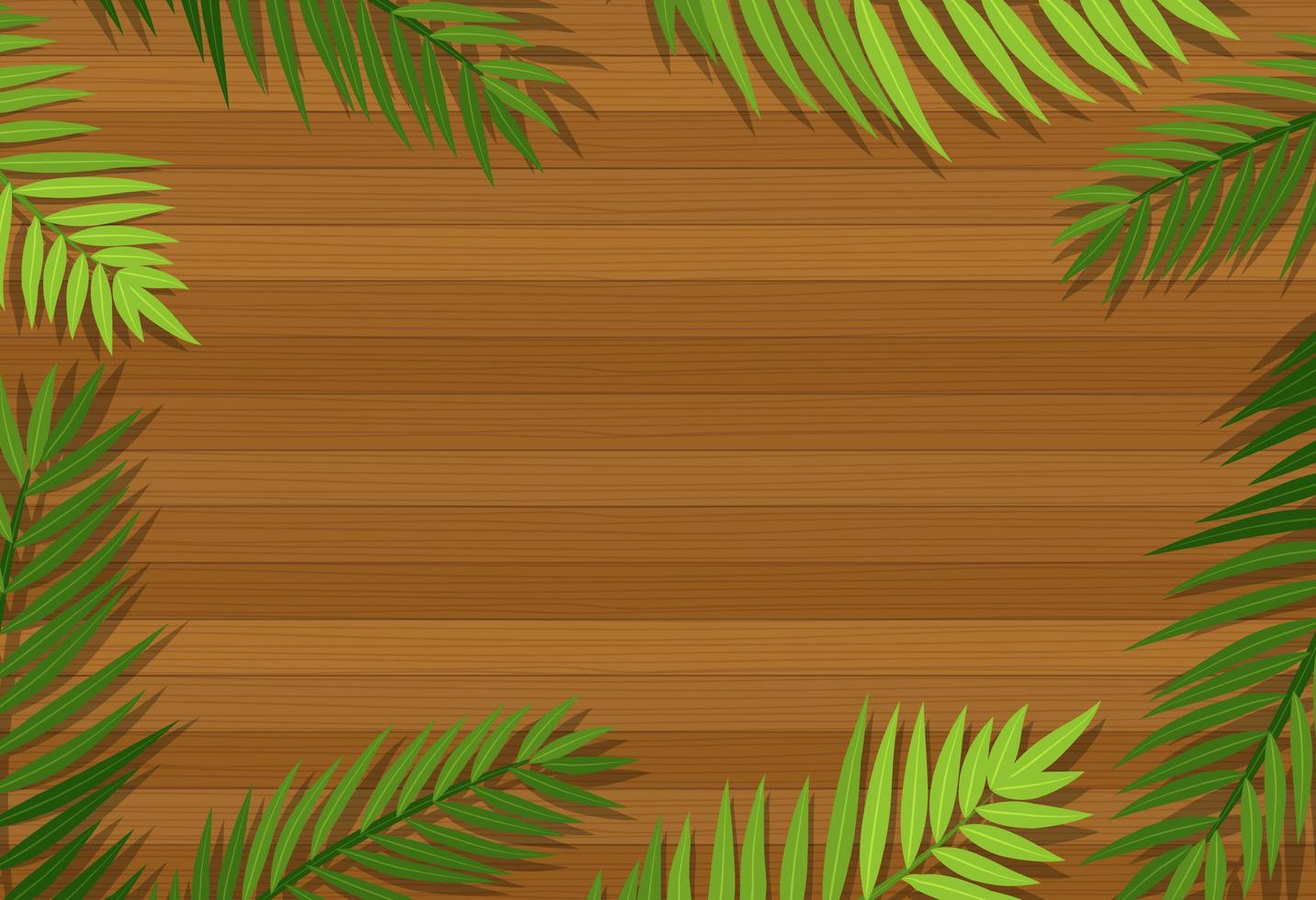 Top view of blank wooden table with leaves vector