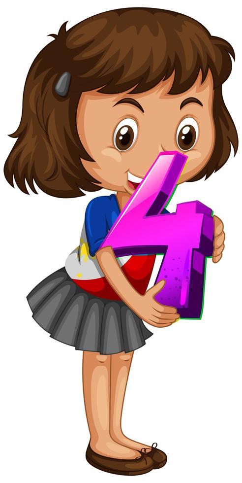 niña sosteniendo matemáticas número cuatro vector