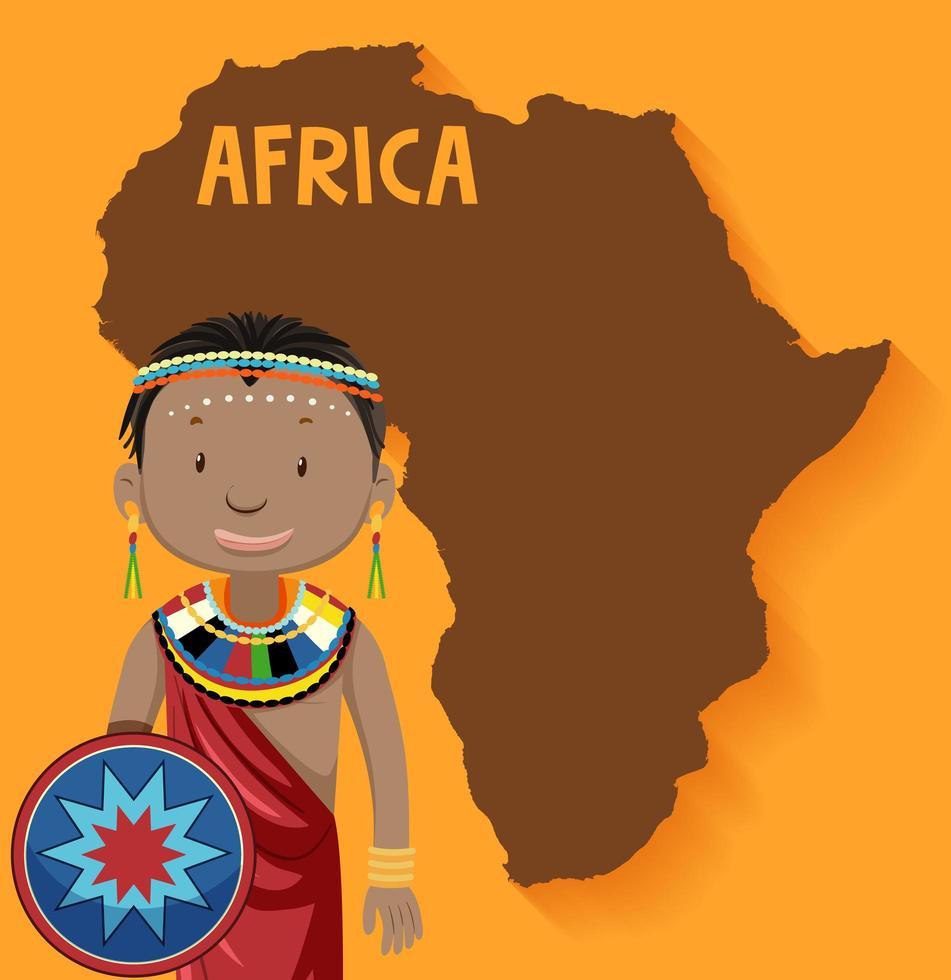 Carácter de la tribu africana con mapa de África vector
