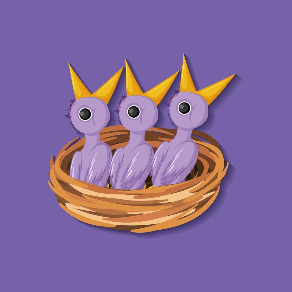 personajes de dibujos animados de pollito púrpura en nido vector