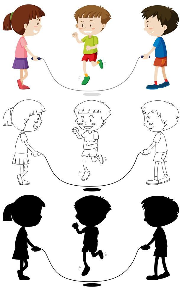 Tres niños jugando a saltar la cuerda en color, contorno, silueta vector