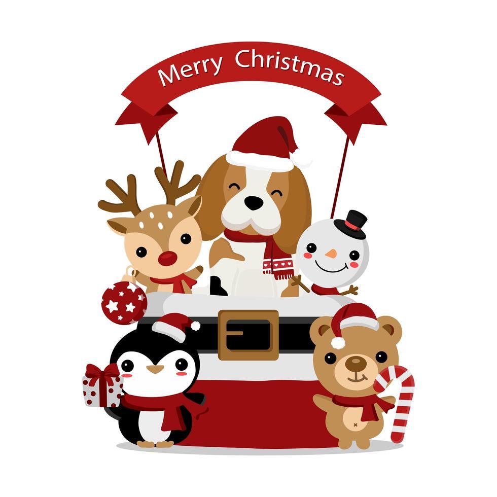 beagle navideño y animales amigos en saco vector