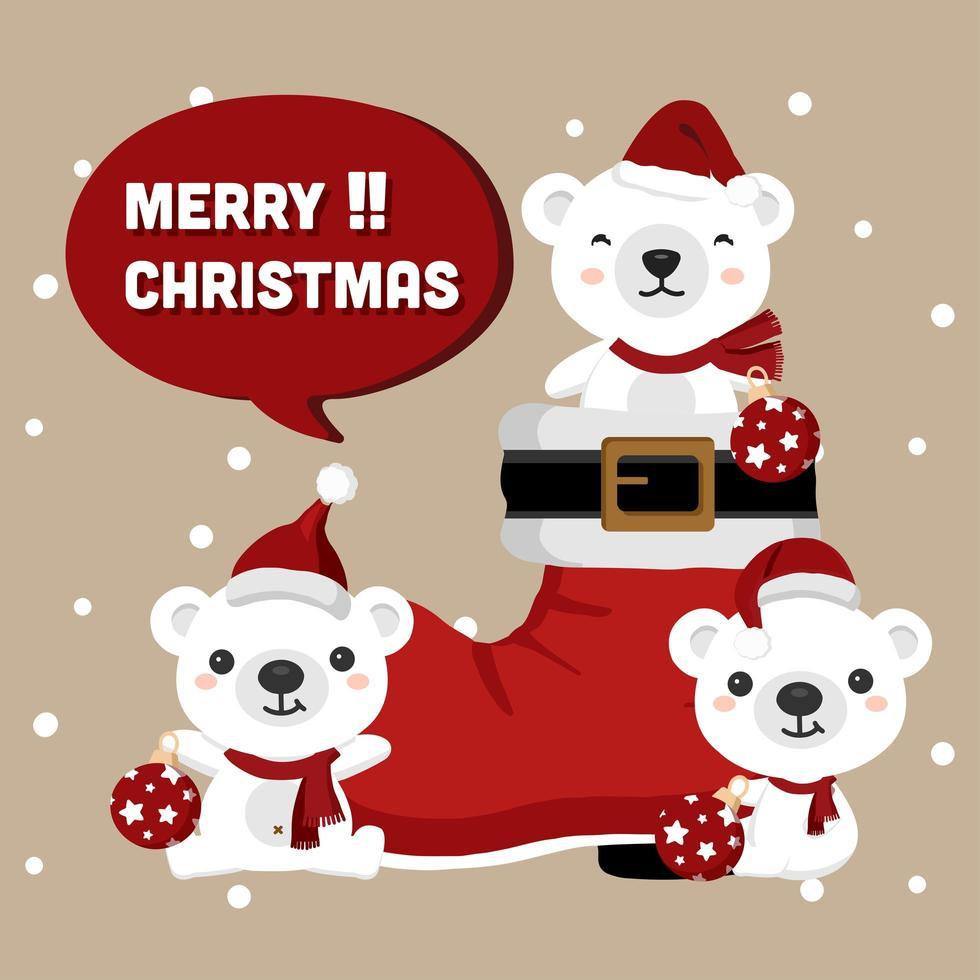 osos de navidad con bota de santa y adornos. vector