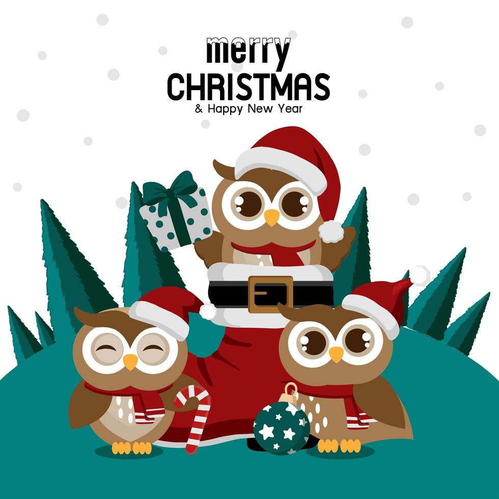 Christmas owl in Santa's boot with owl friends vector