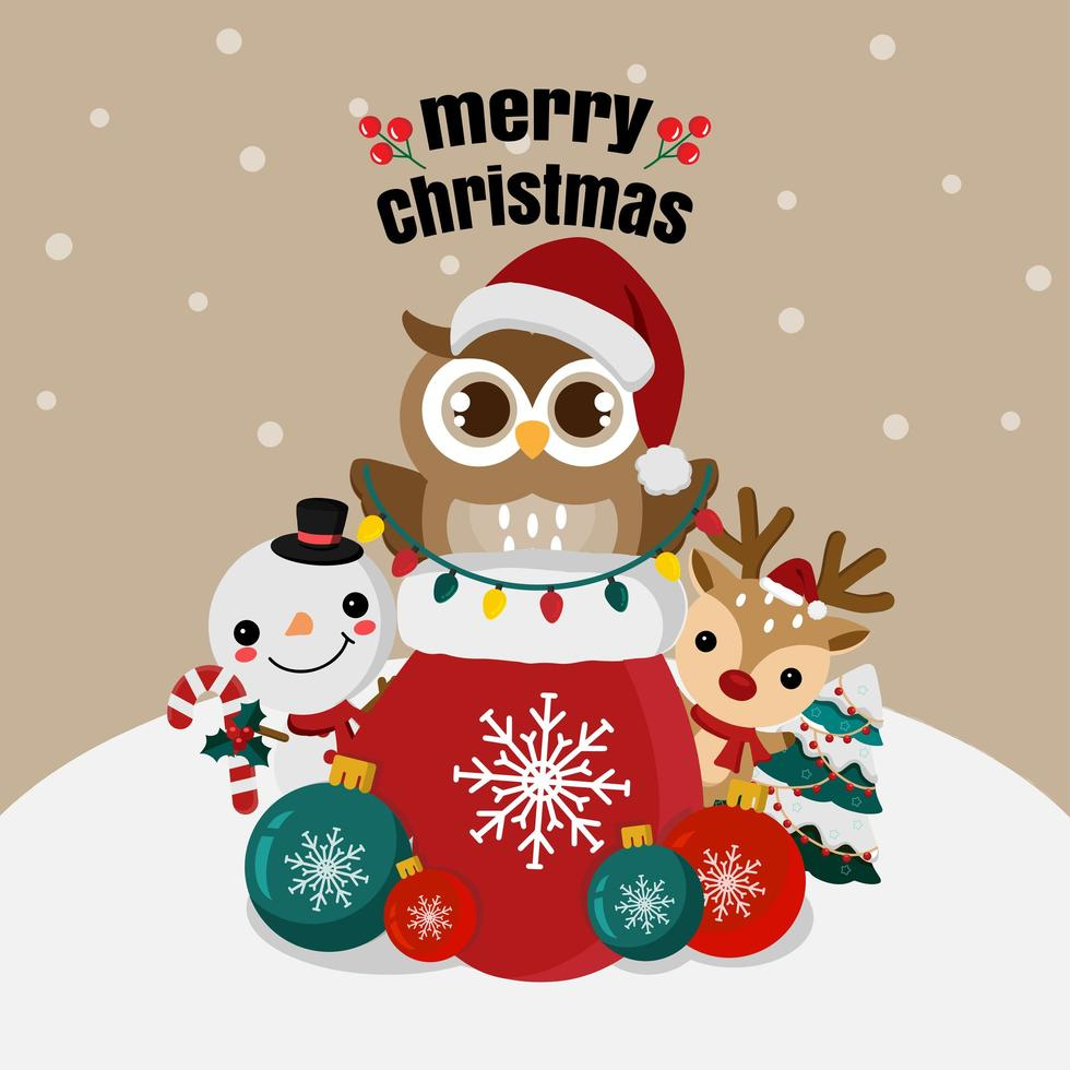 Christmas owl and cute friends in winter scene vector