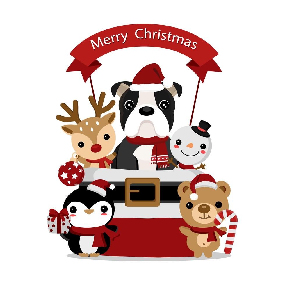 diseño navideño con lindos amigos animales vector