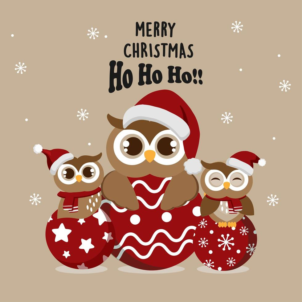Christmas owls in Santa hats on ornaments vector