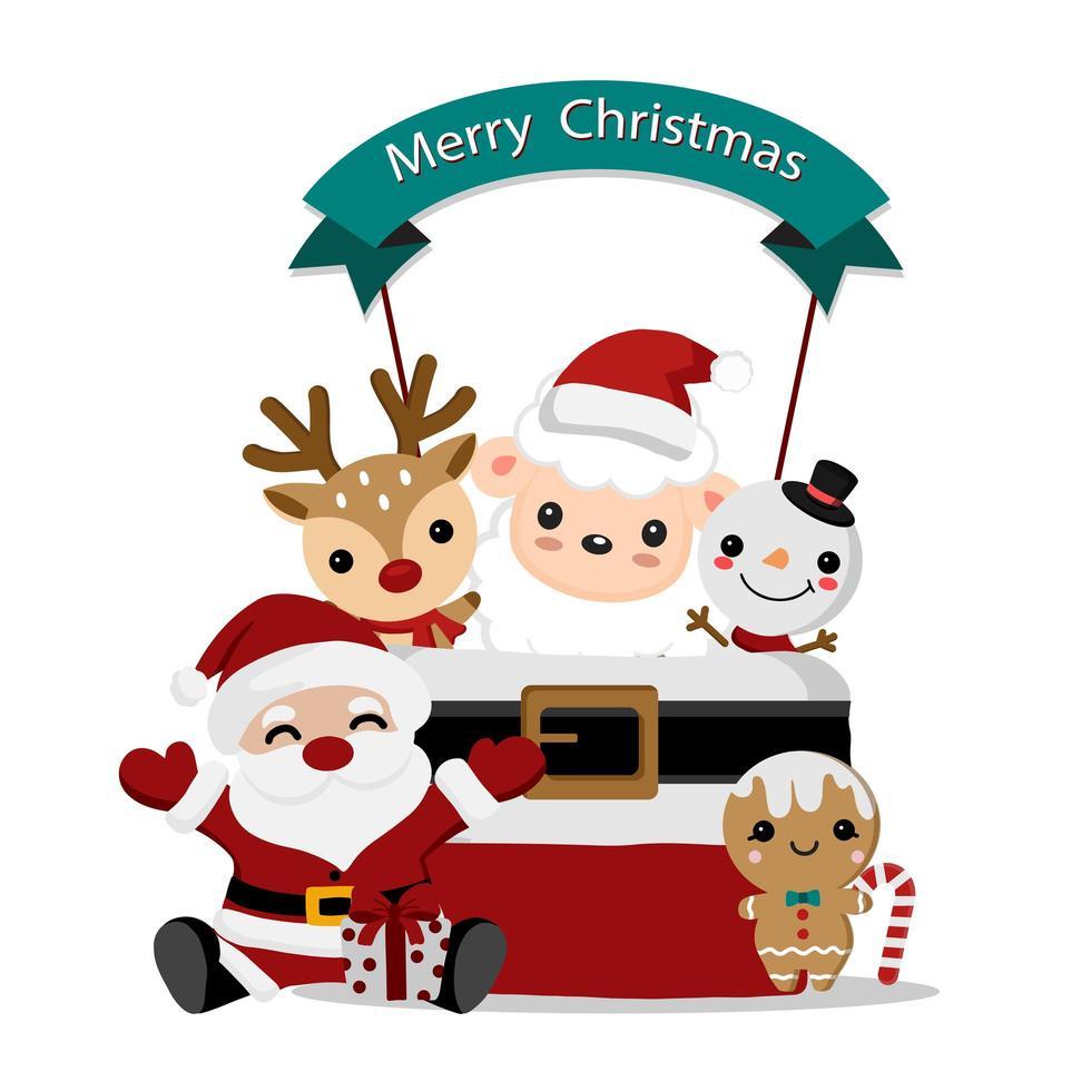 Santa and cute friends Christmas design vector