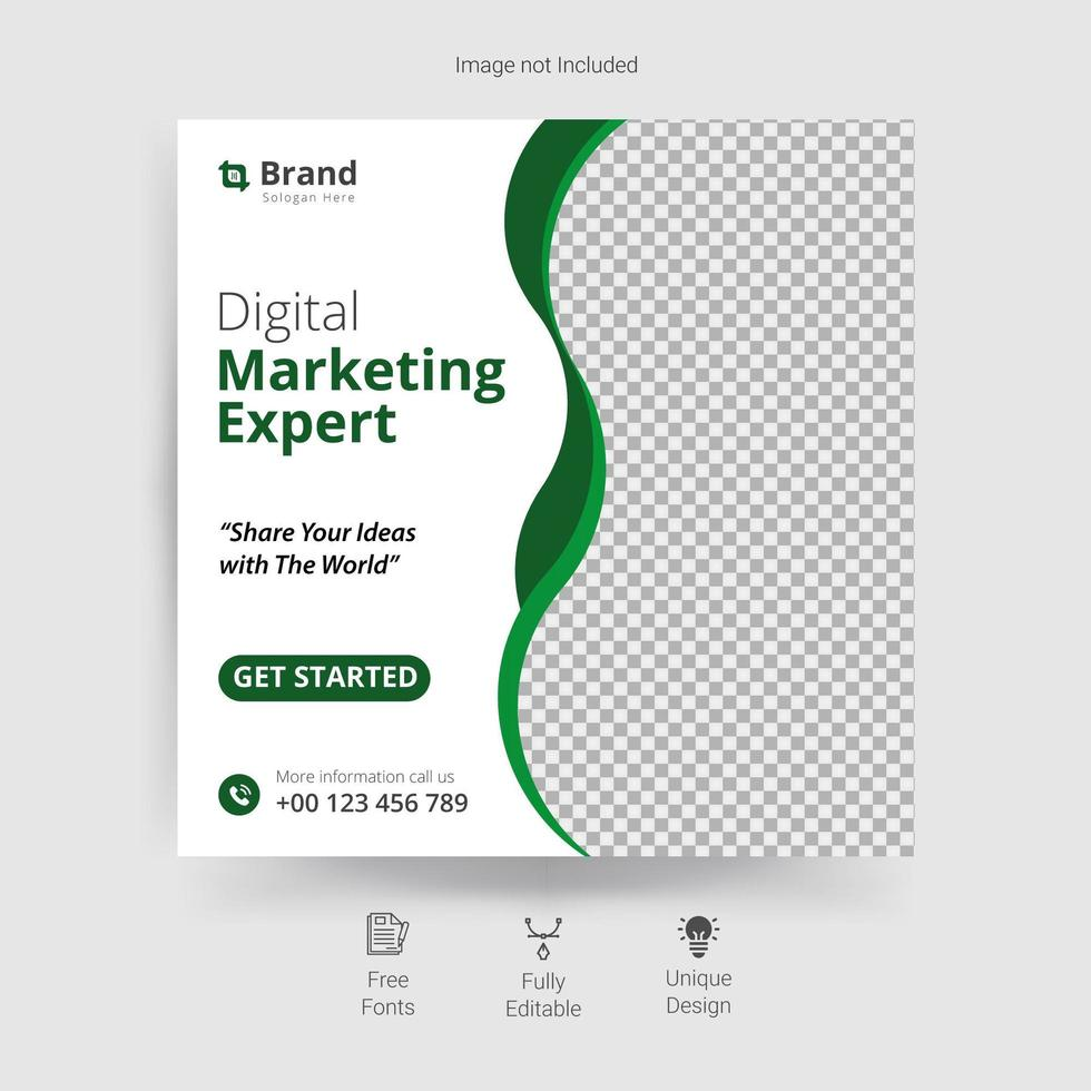 Marketing social media template with green wavy details vector