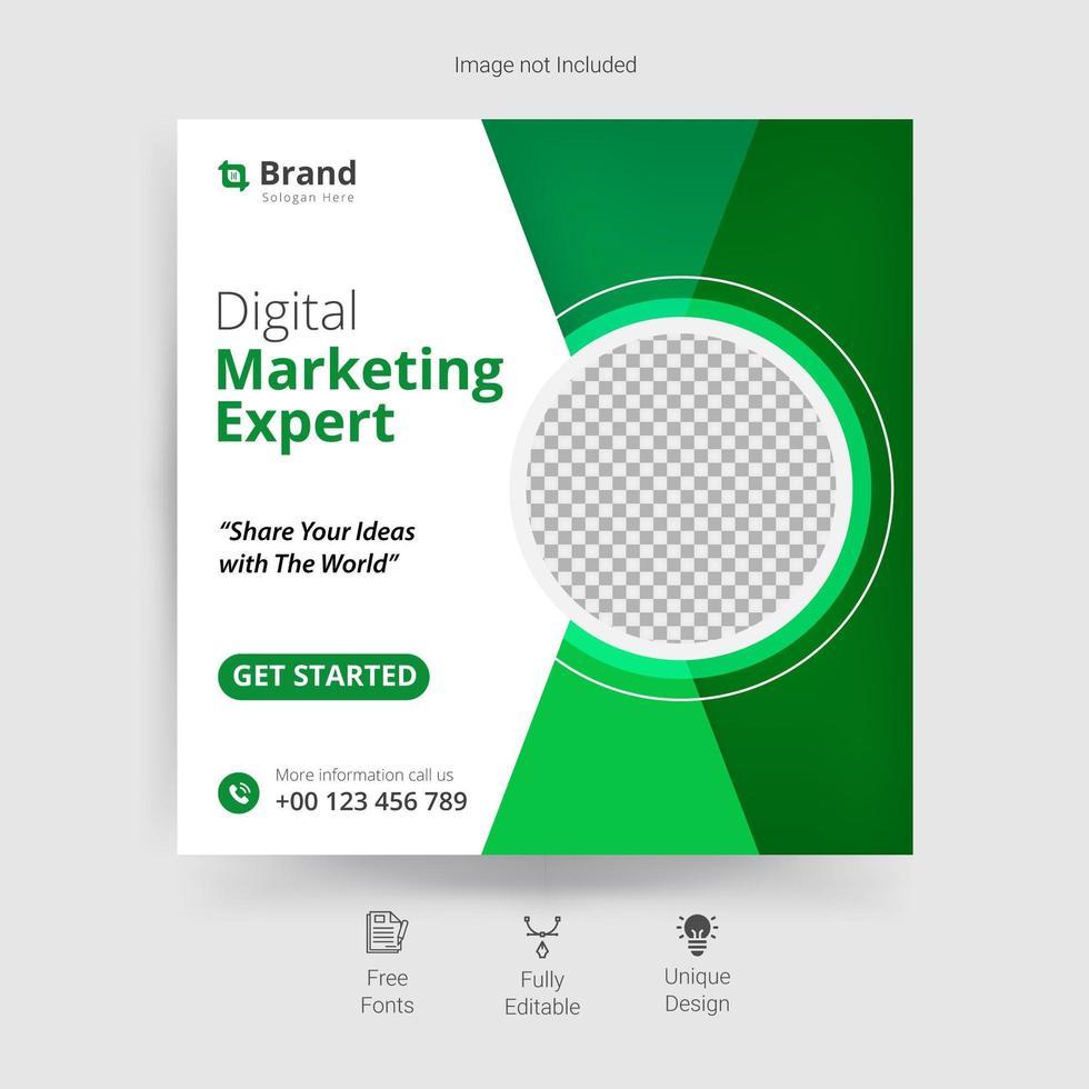 Plantilla de redes sociales de marketing en blanco y verde. vector