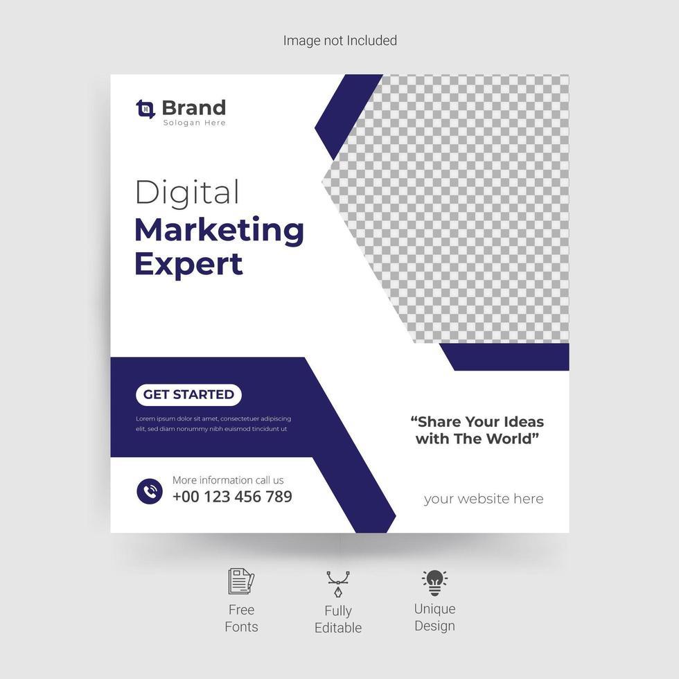 Plantilla de redes sociales de marketing en blanco y azul. vector