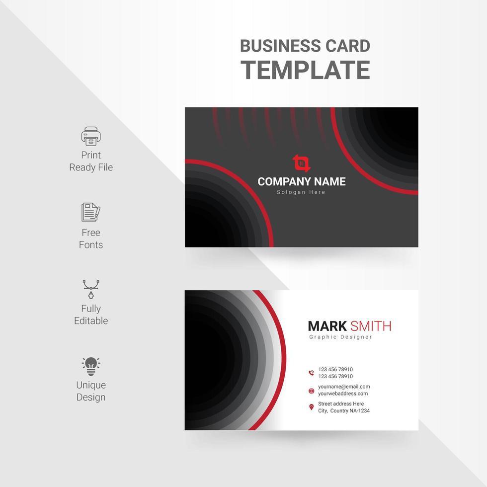 tarjeta de visita con diseños de círculos negros y rojos vector