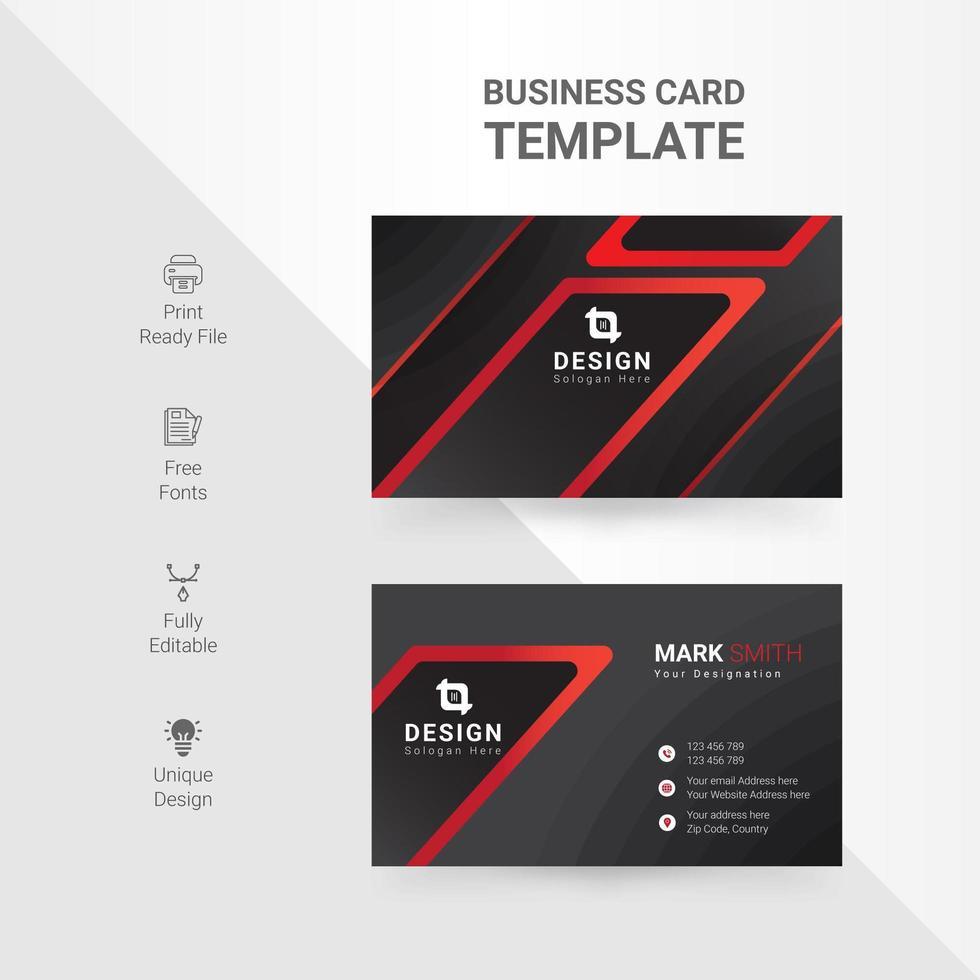tarjeta de visita creativa del diseño del ángulo rojo y negro vector