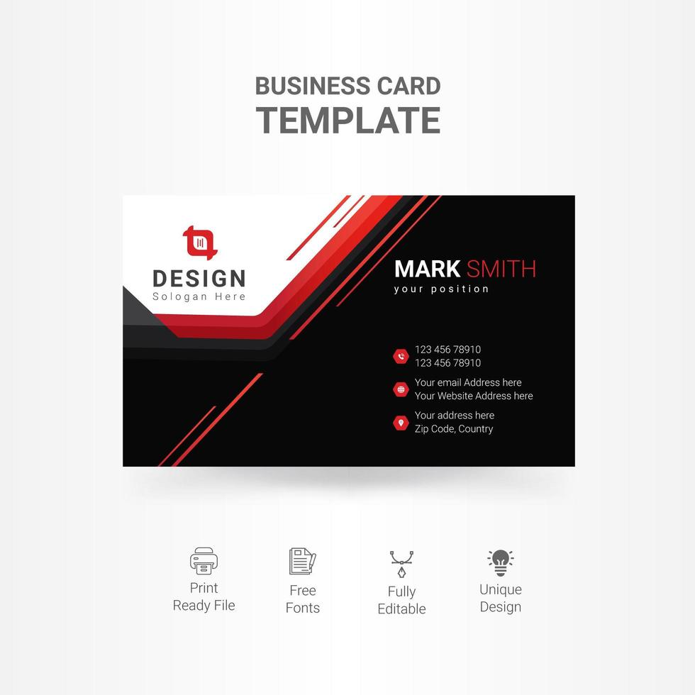 Black business card with white and red accents vector