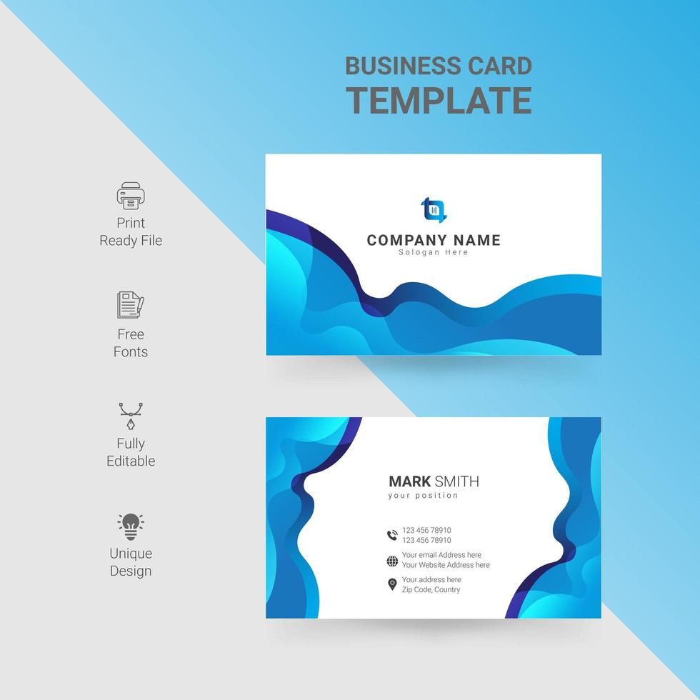 White business card with gradient blue waves design vector