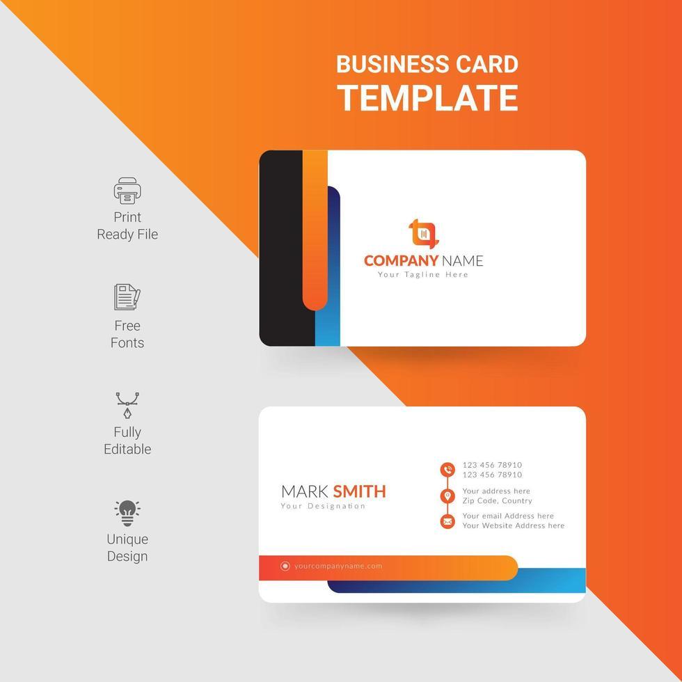 plantilla de tarjeta de visita moderna creativa y limpia vector