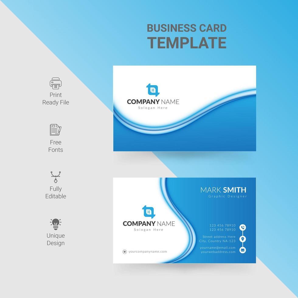 tarjeta de visita de doble cara de onda azul y blanca vector