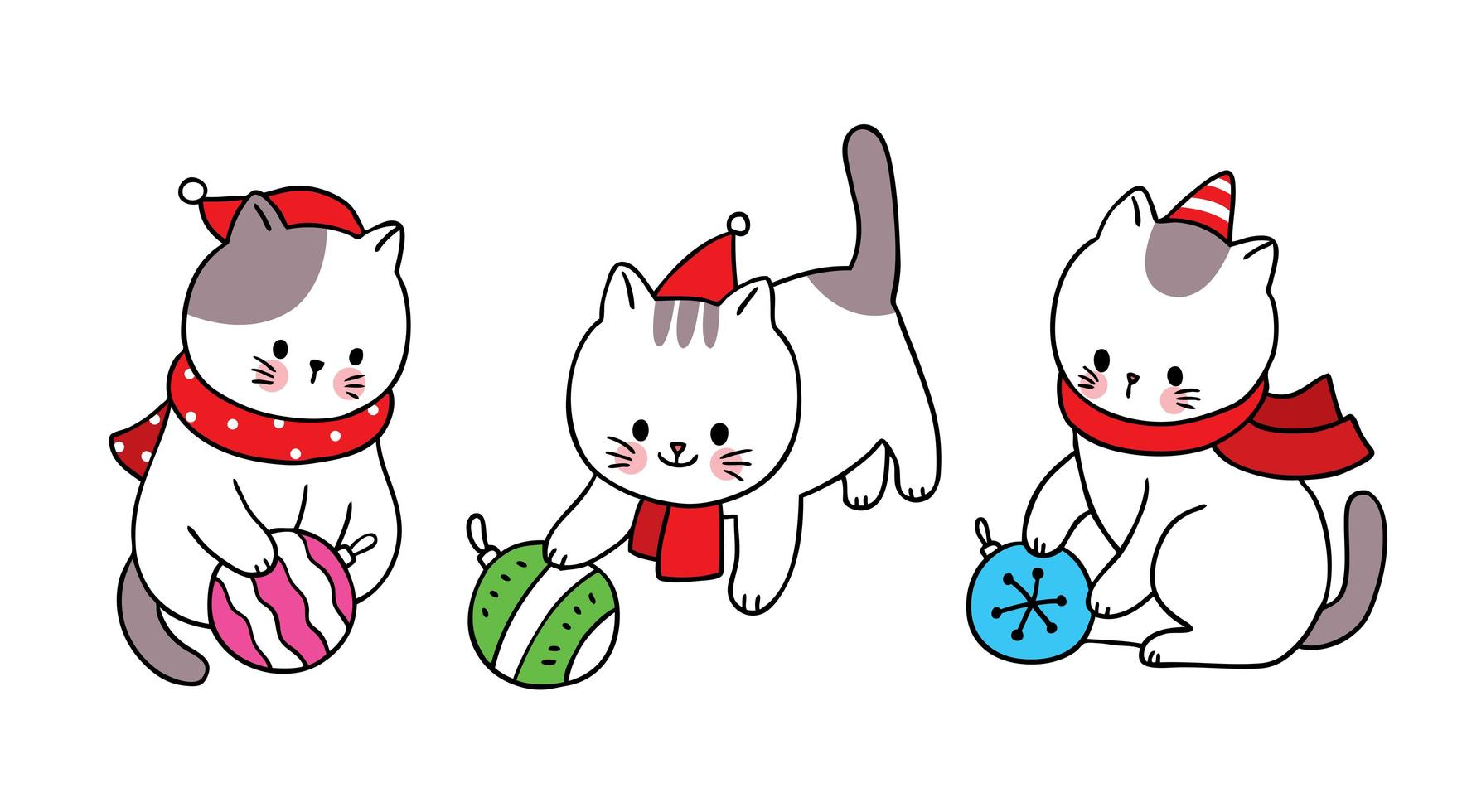 Hand drawn Christmas cats playing with ornaments vector