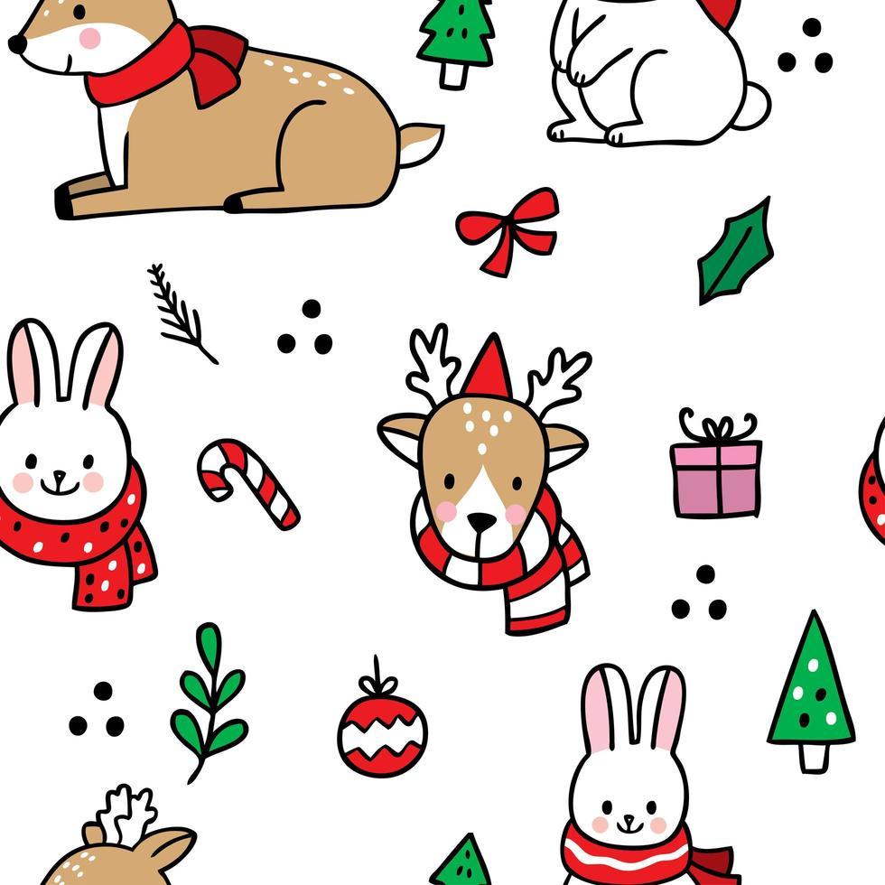 dibujado a mano dibujos animados lindo navidad de patrones sin fisuras vector