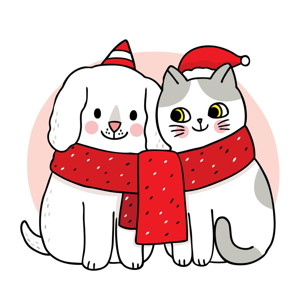 Hand drawn Christmas cat and dog friends in scarf vector