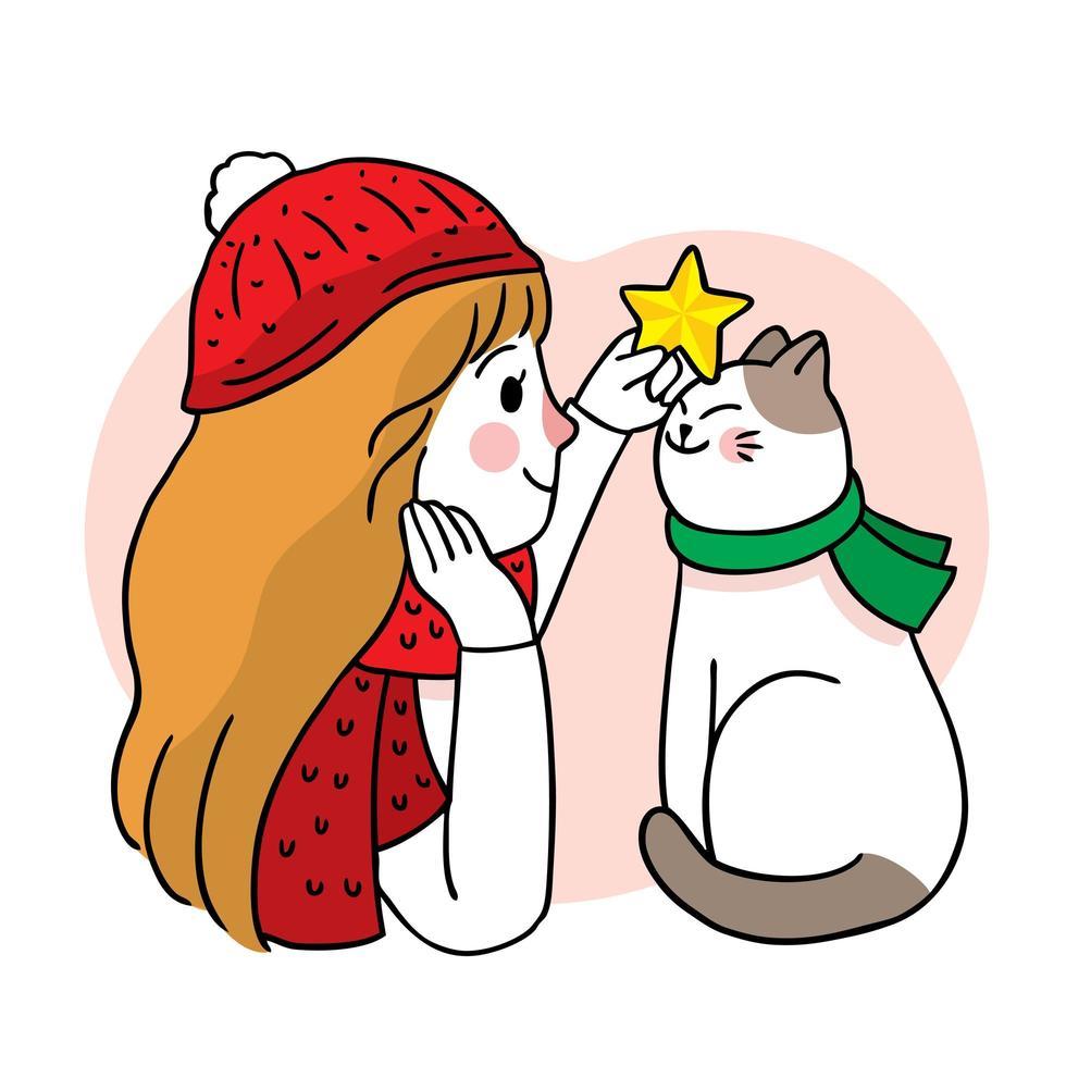 dibujado a mano navidad mujer y gato vector