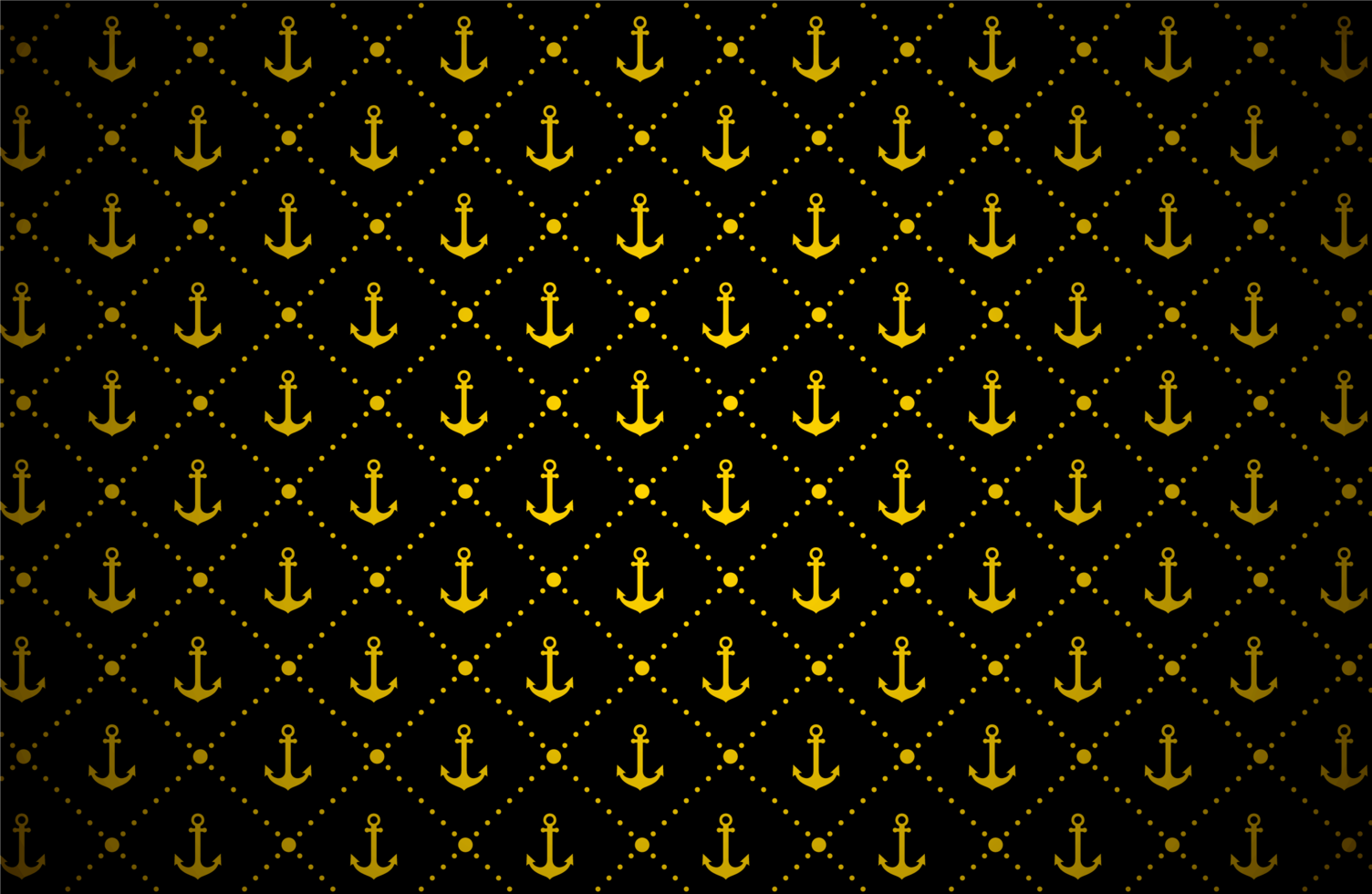 patrón de ancla dorada sobre negro vector