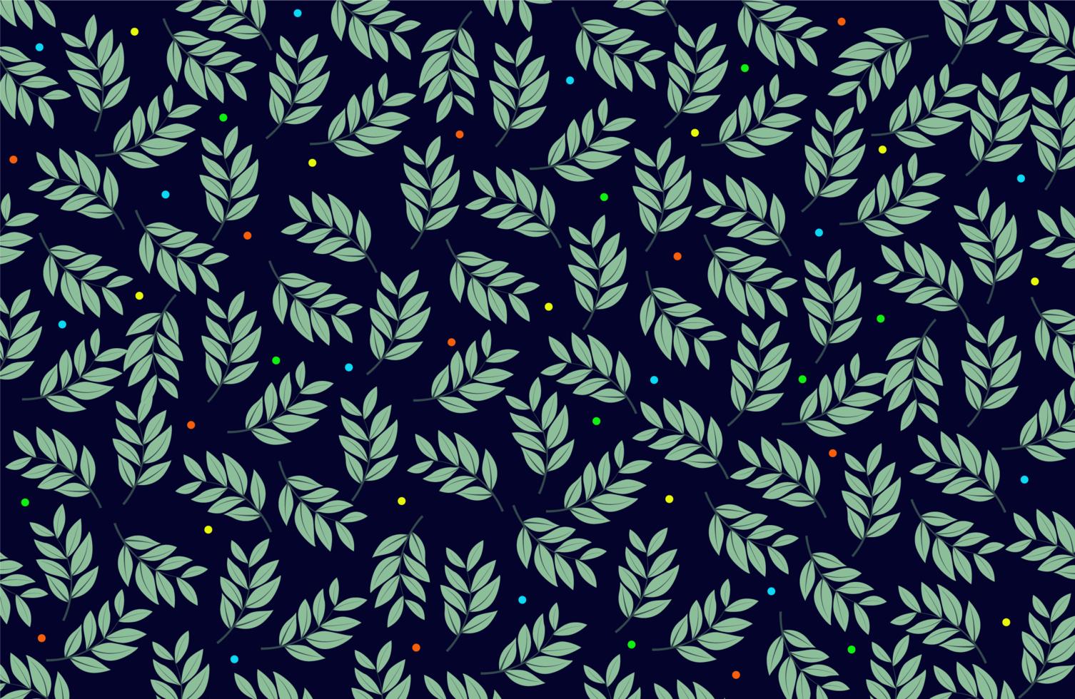 hojas y patrón de tela de puntos de colores vector