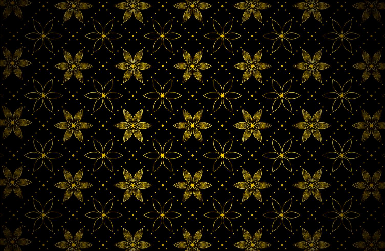patrón de puntos de flor de oro oscuro vector