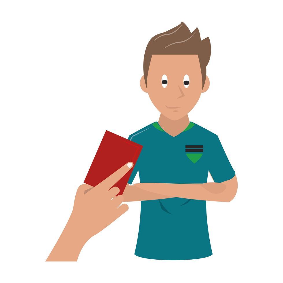 Diseño deportivo con jugador de fútbol recibiendo tarjeta roja. vector