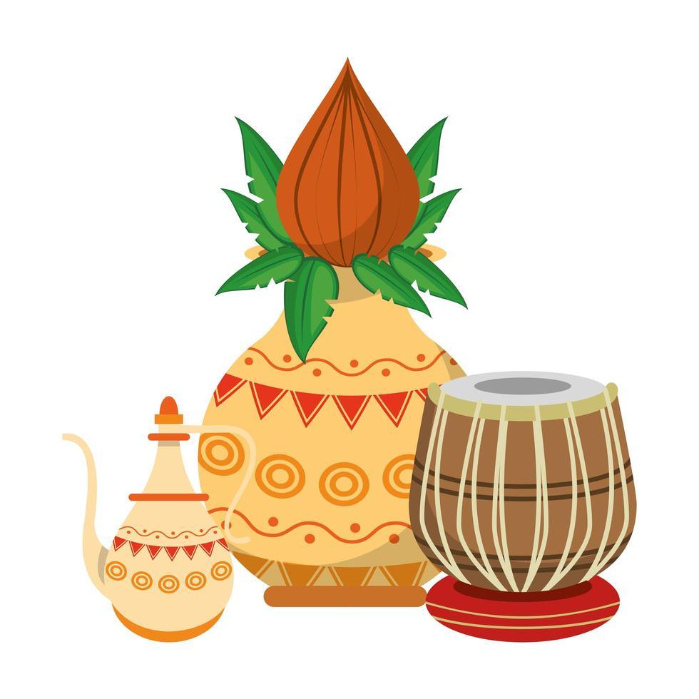 flores de loto indias y tarros de porcelana decorativa con hojas vector
