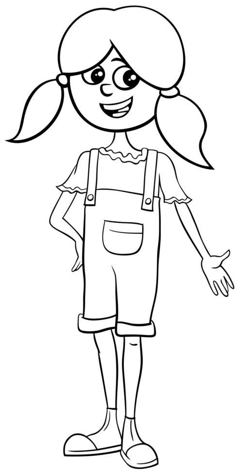 página de libro de color de personaje de niña adolescente de dibujos animados vector