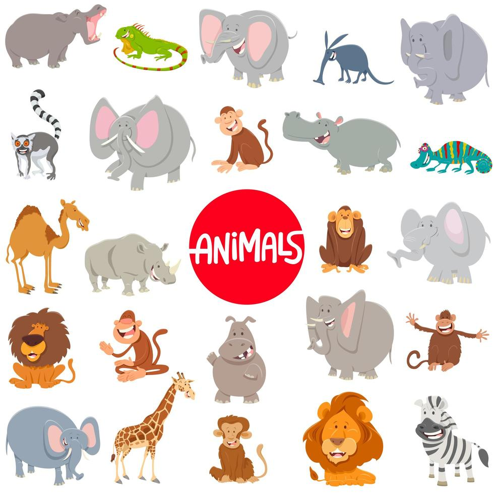Cartoon animal characters large set vector
