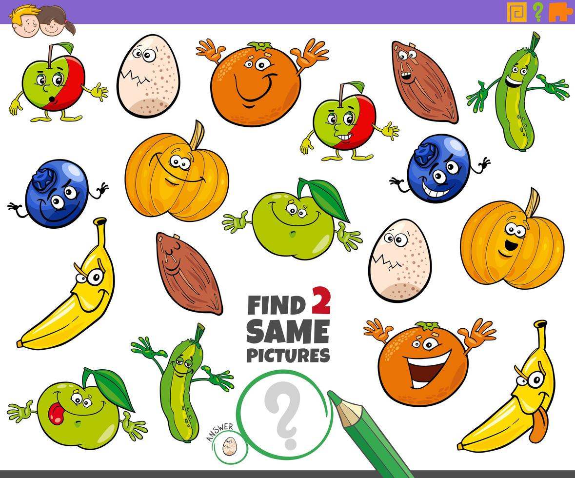 Find two same characters educational game for children vector