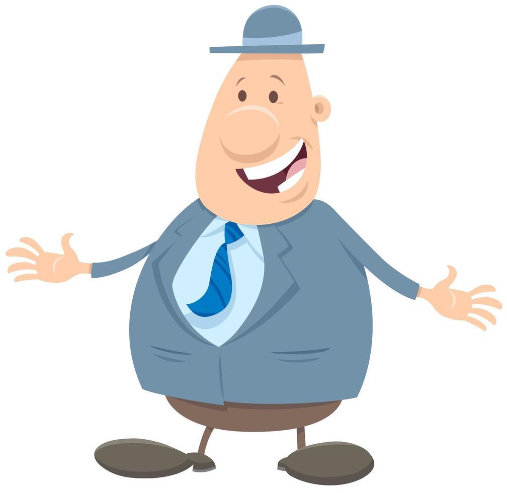 hombre feliz o empresario en un personaje de dibujos animados de sombrero vector